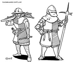 warriors in 14th century armour (fantasy) crossbow man, bascinet