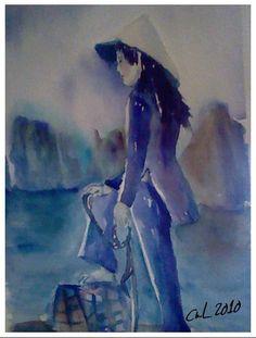 PECHEUSE VIET DE LA BAIE D'ALONG Technique monochrome Aquarelle sur papier ARCHES grain torchon 300gr  Watercolors on ARCHES paper