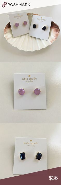 2 Kate Spade Stud Earrings PRICE FIRM 2 Kate Spade Stud Earrings one round in lilacbliss and one rectangles in FRNCHNAVY both with golds color. Super cute! kate spade Jewelry Earrings