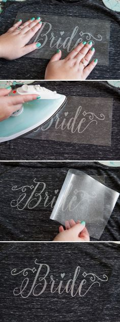 "How to make your own Iron-on glitter ""Bride"" tank top - with free design files! party lights DIY - Iron-on Glitter Bride, Feyoncé + Wifey Shirts Trendy Wedding, Diy Wedding, Wedding Gifts, Dream Wedding, Wedding Day, Wedding Quotes, Wedding Reception, Party Quotes, Bride Tank Tops"