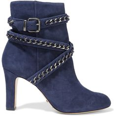 Schutz - Chain-embellished Suede Ankle Boots (2.935 ARS) ❤ liked on Polyvore featuring shoes, boots, ankle booties, heels, blue, storm blue, high heel stilettos, suede booties, buckle ankle boots and high heel boots