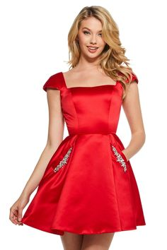 Red Bridesmaids, Red Bridesmaid Dresses, Dressy Dresses, Satin Dresses, Dresses With Sleeves, Cap Sleeves, Red Satin Dress Short, Dress Formal, Mini Dresses