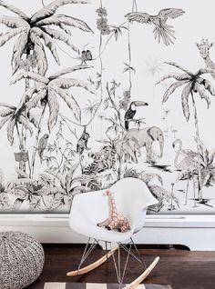 Beautiful Jungle Mural Wallpaper Design Ideas For Kids Room Watercolor Wallpaper, Wallpaper Size, Kids Wallpaper, Wallpaper Jungle, Unique Wallpaper, Baby Room Decor, Wall Decor, Tropical Wallpaper, Indoor Doors