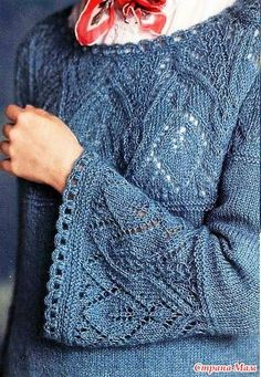 Crochet Patterns Sweter Pullover with openwork elements. Knitting Paterns, Arm Knitting, Knitting Designs, Knitting Stitches, Knitting Needles, Knit Patterns, Knitted Blankets, Knitted Hats, Lace Knitting
