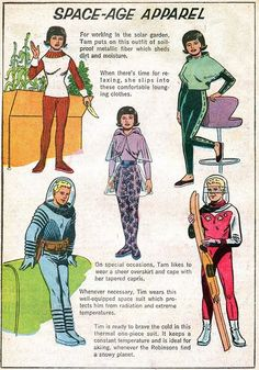 "Dedicated to all things ""geek retro:"" the science fiction/fantasy/horror fandom of the past including pin up art, novel covers, pulp magazines, and comics. Retro Futurism Art, Rockabilly, Space Fashion, Girl Fashion, 1960s Fashion, Classy Fashion, Fashion Men, Fashion Clothes, Korean Fashion"