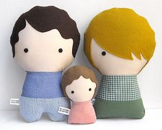 Handmade Personalized Family with baby. Plush doll. Custom your own family. Customize. (99.00 USD) by citizenscollectible