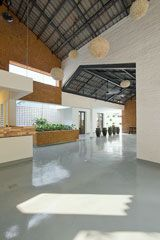 Image 16 of 24 from gallery of HOMEFOOD / Landmak Architecture. Photograph by Le Anh Duc Steel Structure, Contemporary Architecture, Foyer, Coffee Shop, Gallery, House, Home Decor, Photograph, Education