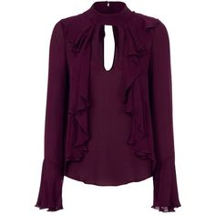 Cinq à Sept Women's Sia Ruffle Keyhole Blouse ($375) ❤ liked on Polyvore featuring tops, blouses, purple, flounce blouse, silk blouses, purple blouse, ruffle blouses and long sleeve blouse