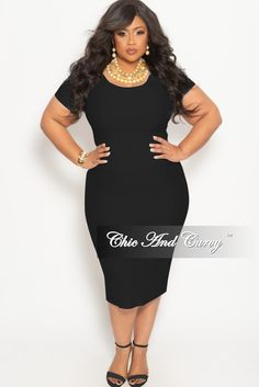 04b50428821 Plus Size 2-Piece BodyCon Skirt and Crop Top Set in Black – Chic And Curvy