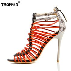 52.52$  Buy now - http://ali1em.worldwells.pw/go.php?t=32673107057 - Women High Heels Sandals Sexy Gladiator Shoes Woman Open Toe Thin Heel Sandals Women Fretwork Style Party Shoes Size 35-46 B018 52.52$