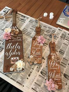 Sorority Paddle Theta Alpha Paddle Ideas Greek Christian Big and Little Pearls Burlap Rustic Paddle College University of Florida UF