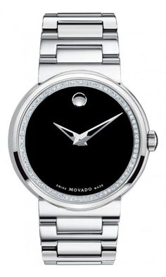 Movado Men's Dura watch, tungsten carbide case with diamonds in Movado's patented Museum® setting, black Museum® dial, tungsten carbide link bracelet, Swiss quartz movement. $4,995.00