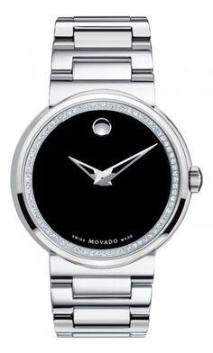 Movado Men's Dura watch, tungsten carbide case with diamonds in Movado's patented Museum® setting, black Museum® dial, tungsten carbide link bracelet, Swiss quartz movement. $4,995.00