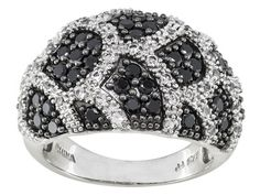 1.38ctw Round Black Spinel With .34ctw Round White Topaz Sterling Silver Dome Ring