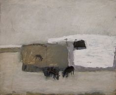 David Pearce Livestock Grazing 50 x 60 cm mixed media on panel  S O L D