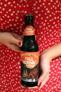Anderson Valley Fall Hornin' Pumpkin Ale.  I'll drink to that!