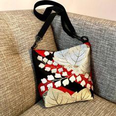 Paulownia Silk Kimono Obi Crossbody Bag created from vintage Japanese Kimono Obi. Japanese Quilts, Japanese Fabric, Japanese Kimono, Kimono Fabric, Silk Kimono, Fabric Bags, Japan Bag, Vintage Kimono, Silk Jacket