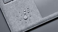 Surface Laptop Alcantara® keyboard with drops of water.