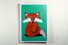 Limited edition Illustrated Fox Postcard by thesunandtheturtle, $2.50 Card Sizes, Postcard Size, Rooster, Moose Art, Fine Art Prints, Unique Jewelry, Paper, Postcards, Illustration