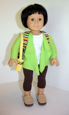 American Girl Doll Striped Backpack Brown Suede by JessieAmerica, $30.00
