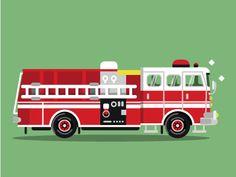 #Firetruck #car #vector #illustration #flat #cartoon #adobe #illustrator #digital #draw #art