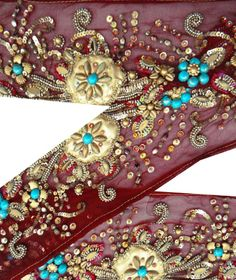 Vintage India Sari Border Hand Beaded Deco Ribbon Lace Sewing Trim 1yd Maroon