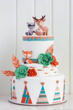 Amazing Kids Birthday Cakes — Top Tips For Tip Top Parties Baby Cakes, Baby Shower Cakes, Cupcake Cakes, Kreative Desserts, Woodland Cake, Woodland Party, Woodland Theme, Woodland Animals, Teepee Party
