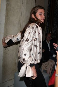 L'Uomo Vogue Art Issue Opening Party 2009 Charlotte Casiraghi wearing a Stella McCartney embellished silk jacket in Venice    ..