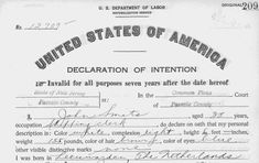Declaration of Intention (to become a citizen) for Rachel Maddow's great-grandfather, John Smits