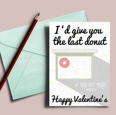 New to DesignGenesStudio on Etsy: Food Lover Valentine's card Valentine's card for him Card about donut card for boyfriend funny food valentine's card 5x7 card shipped (5.50 USD)