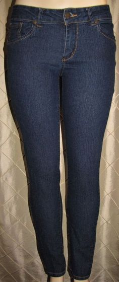 "F&F DARK BLUE STRETCH JEANS WOMENS SKINNY SIZE 5/6 31"" INSEAM LOW RISE WJ044 #FF #SkinnyLeg"