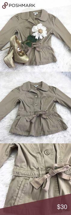 "SALEAnn Taylor Loft Khaki Jacket Fabulous Ann Taylor Loft Khaki Belted Jacket 21"" from the top of the shoulder to the bottom 17"" from armpit to armpit 17"" Sleeve Length 98% Cotton 2% Spandex LOFT Jackets & Coats"