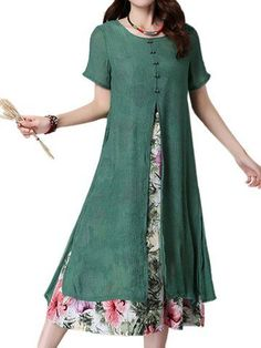 Women Short Sleeve O Neck Fake Two Pieces Floral Printed Vintage Dress