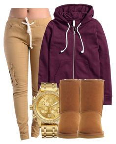 """""""chill day."""" by miabailey-1 ❤ liked on Polyvore featuring H&M, Nixon and UGG Australia"""