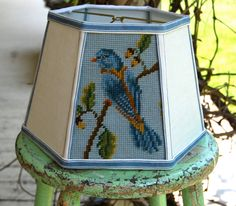 Bird Lampshade Lamp Shade Vintage Needlepoint, 7x10x7 Clip, Shabby Chic Country Decor, Vintage Lighting by lampshadelady on Etsy