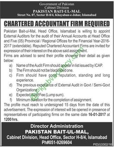 Jobs In Pakistan Bait ul Mal Islamabad For Chartered Accountant Firm