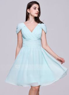 A-Line Princess V-neck Knee-Length Ruffle Zipper Up Cap Straps Sleeveless  No Other Colors Spring Summer General Plus Chiffon Homecoming Dress 2026e4b62
