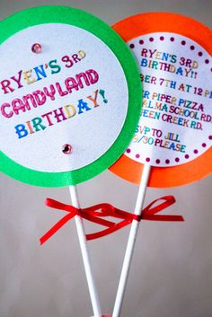 Lolly invites. Make with a stick, circle labels, & circle cut out of card stock.