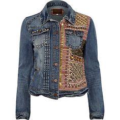 Blue half embellished stud denim jacket
