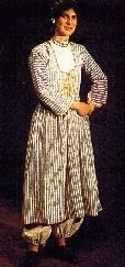 """Costume of the Messaorias, """"fousta'ni"""". Early 20th Century.  Collection of the Cyprus Folk Art Museum."""