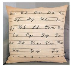 """LEARN CURSIVE  18 in PILLOW cover  Exclusive Fabric  by ZyndiePOP, $58.50. Another one of my orignal pillows on etsy.com. Pleave look, and """"favorite"""" if you feel so inclined. I appreciate the input, very much. Fun vintage image of how to write cursive from early school days."""