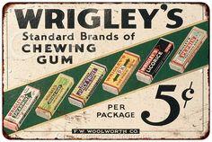 Wrigley& Brands of Chewing Gum Vintage Look Reproduction Signs 8121095 Vintage Advertising Signs, Old Advertisements, Gum Brands, Gum Flavors, Schlitz Beer, Juicy Fruit, Chewing Gum, Life Savers