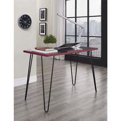 Owen Retro Desk Study Workstation Home Office Computer PC Laptop Black & Red New #AvenueGreene #MidCentury