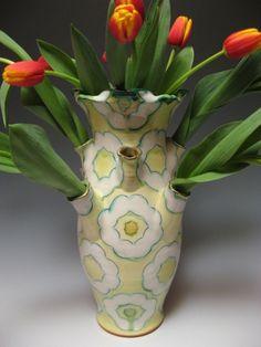 "Citrus Tulipiere - 2013 H 14"" L 10"" D 10""    Wheel-thrown and constructed Nova Scotia earthenware with slip, sgraffito decoration and glazes.  Joan Bruneau - Studio Potter - Lunenburg Nova Scotia - Work"