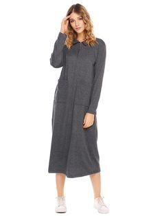 aef460d806d Dark Grey Robe Sleepwear Pockets Fashion Clothes Online