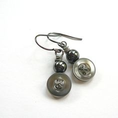 Vintage Button Jewelry | Vintage Button Jewelry Small Stormy Gray by buttonsoupjewelry