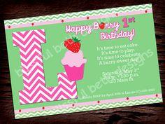 BERRY BIRTHDAY INVITATION Berry Birthday by BlissfulBethDesigns, $10.00