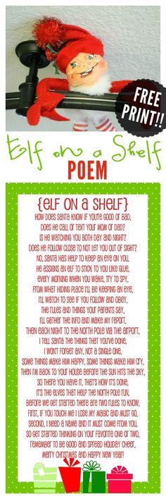 FREE Elf on the Shelf Poem - Download at { lilluna.com }