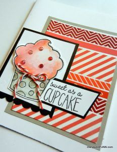 Sweet as a Cupcake Handmade Card with washi tape. marygunnFUNN.com