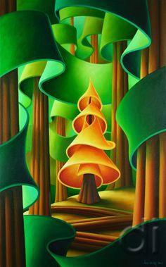 Spying on Golden Spruce - Dana Irving - Dana Irving is a Canadian artist, living working in North Vancouver, British Columbia. Landscape Art, Landscape Paintings, Landscapes, Illustrations, Illustration Art, Environment Concept Art, Naive Art, Felt Art, Tree Art